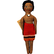 Vintage Negrito Ethnic Rag Doll - Red Tag Sale Item