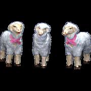 Vintage Three Miniature Putz Woolen Sheep