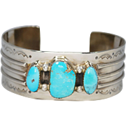 Navajo Kathleen Chavez Sterling Turquoise Cuff Bracelet