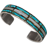 Native American Sterling Turquoise Mother-of-Pearl Cuff Bracelet