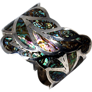 Early Los Ballesteros Mexican Sterling Abalone Clamper Bracelet:Taxco Mexico