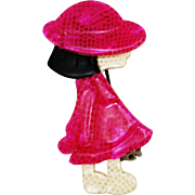 Vintage Lea Stein Boulbot Girl in Pink Brooch