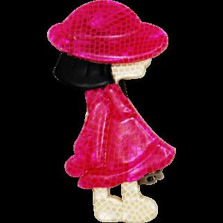 Vintage Lea Stein Boulbot Girl in Pink Brooch