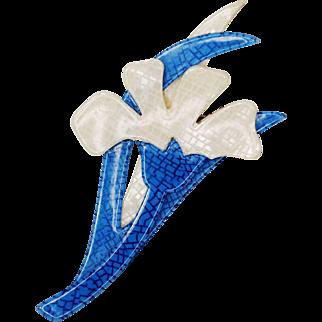 Vintage Lea Stein Edelweiss Flower Brooch