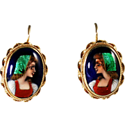 Vintage France 14k Gold and Enamel Portrait Earrings