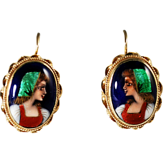 Vintage France 14k Gold and Enamel Portrait Earrings