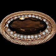 Vintage 1960s Smoky Quartz Pearl Brooch Pendant