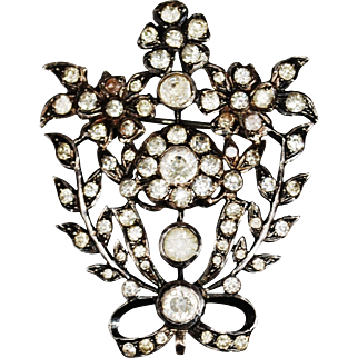 Victorian French Silver Paste Floral Brooch