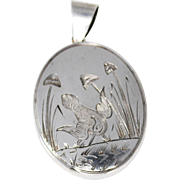 Antique Victorian Sterling Locket with Bird and Foliage