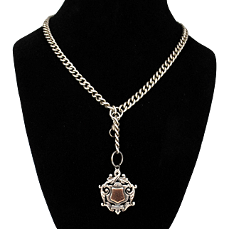 Victorian English Sterling Chain and Fob