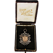 Edwardian English Sterling Gold Fob Medallion w/Case; circa 1909