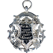 Edwardian English Sterling Fob Award Medal; circa 1909
