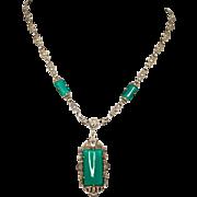Art Deco Birks Sterling Marcasite Chrysoprase Pendant Necklace
