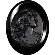 Victorian French Jet Cameo Mourning Brooch