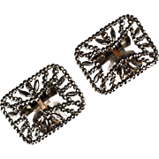 Pair Victorian French Cut-Steel Buckles
