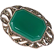 Art Deco Sterling Chrysoprase Marcasite Brooch; Germany
