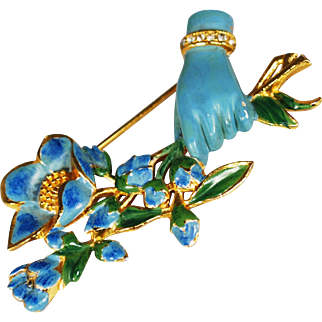 Coro Enamel Brooch: Figural Hand with Floral Bouquet