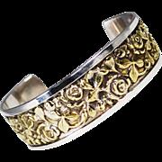 Vintage Italian Brandimarte Sterling and Gold Gilt Cuff Bracelet
