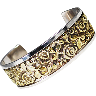 Vintage Italian Brandimarte Sterling and Gold Gilt Cuff Bracelet