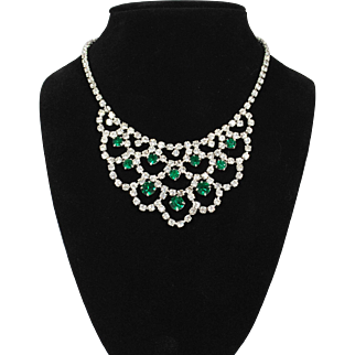 Vintage Clear and Emerald Green Rhinestone Collar Necklace