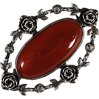 Vintage Sterling Roses and Carnelian Brooch