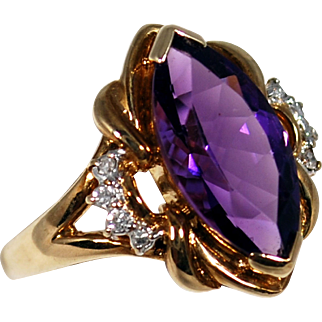 Antique 9k Amethyst and Diamond Ring; Size 5.25