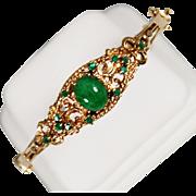Vintage 14k Jade and Emerald Bracelet