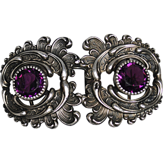 Sterling Art Nouveau Buckle with Purple Stones