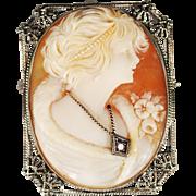 Art Deco 14k White Gold Filigree Habille Cameo Brooch/Pendant