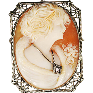 Art Deco 14k White Gold Filigree Habille Cameo Brooch/Pendant