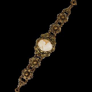 Vintage 1930s Cameo Brass Filigree Bracelet