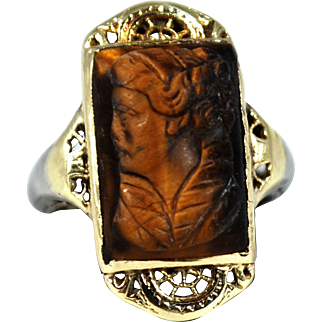 Antique 14K Yellow White Gold Filigree Tiger Eye Cameo Ring; Size 3 ½