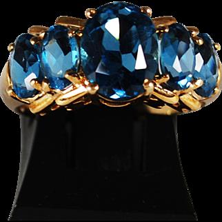 Vintage 10K Blue Topaz Ring; Size 7 ¾