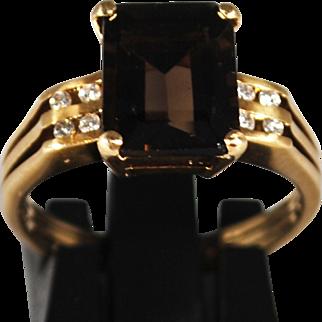 Vintage 14K Smoky Quartz Diamond Ring; Size 6 ¼