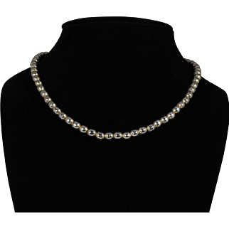 Vintage Mexican Sterling Silver Bead Choker Necklace; #1