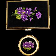 Vintage Birks Petit Point Violets Cigarette Case and Ashtray