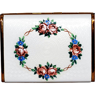 Vintage Enamel Guilloche Cigarette Case with Roses