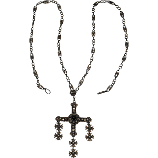 Vintage Mexican Sterling Yalalag Cross and Chain