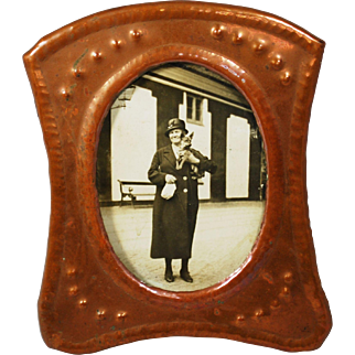 Art and Crafts Copper Picture Frame; Photo of Edwardian Woman with Dog
