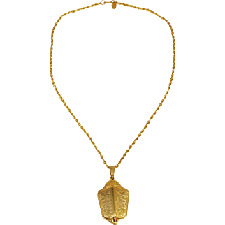 Vintage Signed Miriam Haskell Locket Necklace
