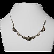 c. 1920s Art Deco Sterling Marcasite Necklace