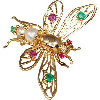 Vintage 14k Emerald, Ruby, Pearl Bug Brooch; Insect Pin