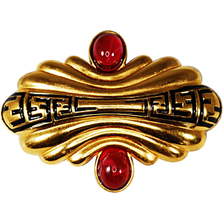 Vintage Fendi Brooch; Gold with Black Enamel and Cranberry Glass Cabochons