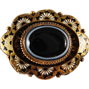 Victorian 14K Mourning Brooch/Pendant w/ Banded Agate, Enamel and Baby
