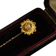 Victorian Etruscan Revival Style 15ct Stickpin with Case