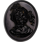 Antique Victorian Vulcanite Cameo Mourning Brooch