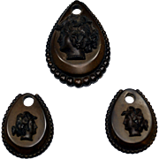 3-Piece Victorian Vulcanite Cameo Pendant and Earrings