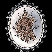 Antique British Victorian Aesthetic Sterling Locket; Fern Design