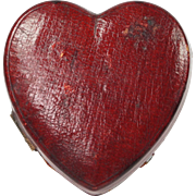 RESERVED JH Novelty Travelling Inkwell Scarce Red Leather Heart Shape English Circa 1880