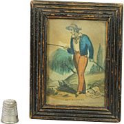 19th Century Miniature Engraving Boy Fishing John Fairburn Nursery Print Georgian Circa 1820